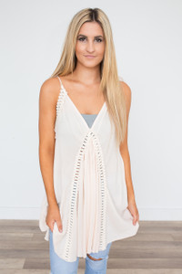 Tassel Tie Tunic Dress - Cream