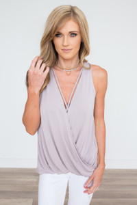 Wrap Front Sleeveless Top - Dusty Lilac