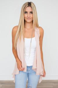 Crochet Lace Back Vest - Blush
