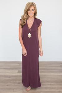 Solid Tie Back Maxi Dress - Wine