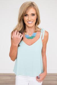 Shoulder Tie Sleeveless Blouse - Aqua