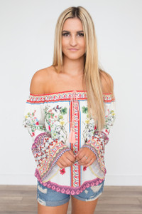 Off The Shoulder Bell Sleeve Blouse - Multi