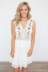 Embroidered Lace Tiered Dress - Off White