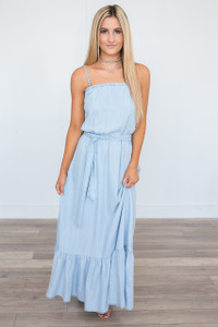 BB Dakota: Kate Convertible Maxi Dress - Chambray - FINAL SALE