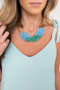 Multi Strand Beaded Necklace - Blue Multi