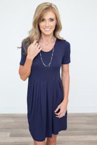 Short Sleeve Pocket Dress - Navy