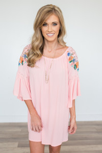 Embroidered Bell Sleeve Dress - Light Pink