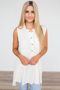 Button Down Sleeveless Tunic - Ivory