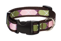 Sweet Pea Dog Collar - Pink Argyle on Brown