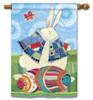 Bunny And Eggs BreezeArt House Flag