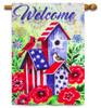 American Patriotic Birdhouse Decorative House Flag