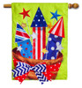 Basket of Fireworks Burlap House Flag