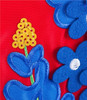 Blue Bonnets Lone Star Applique House Flag with embroidery detail