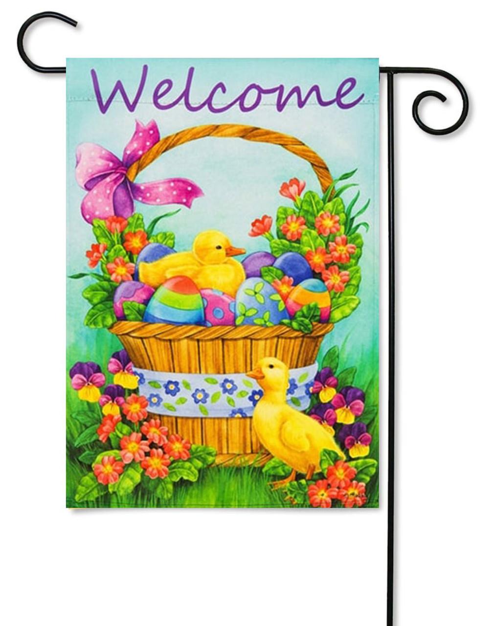 Duckling Basket Decorative Easter Garden Flag