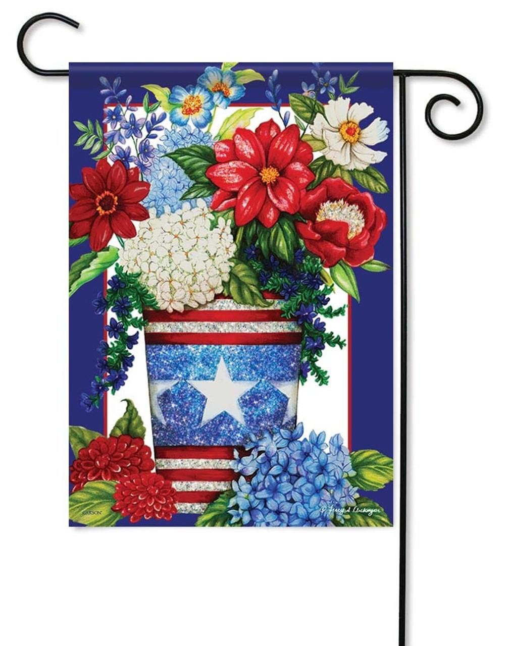 Patriotic Flowers Glitter Decorative Outdoor Garden Flag