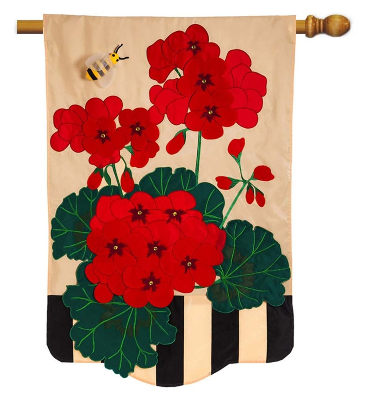 Geraniums Applique Decorative House Flag Evergreen