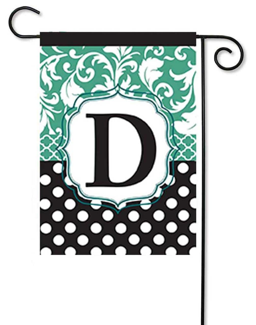 Monogram Applique Garden Flag Aqua U0026 Black Letter D   13 ...