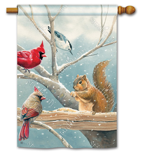 "Winter Snacktime House Flag - 28"" x 40"" - BreezeArt"