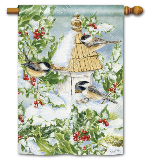 "Chickadee Welcome House Flag - 28"" x 40"" - BreezeArt"