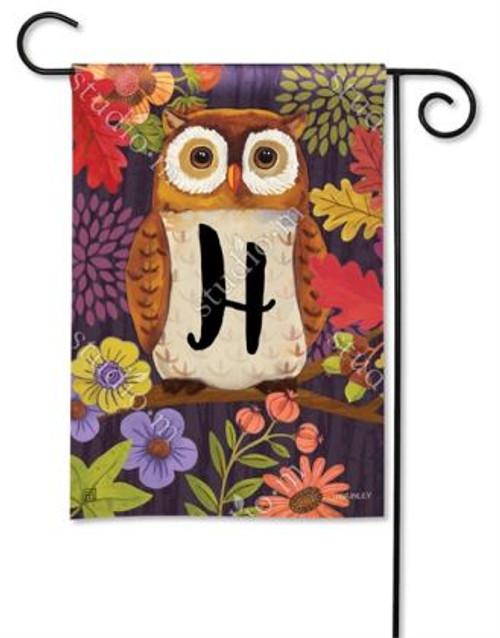 Floral Owl Monogram Garden Flag Letter H - 12.5 x 18 - BreezeArt