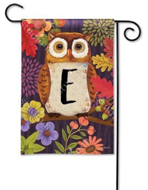 Floral Owl Monogram Garden Flag Letter E - 12.5 x 18 - BreezeArt