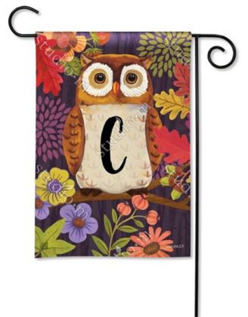 Floral Owl Monogram Garden Flag Letter C - 12.5 x 18 - BreezeArt
