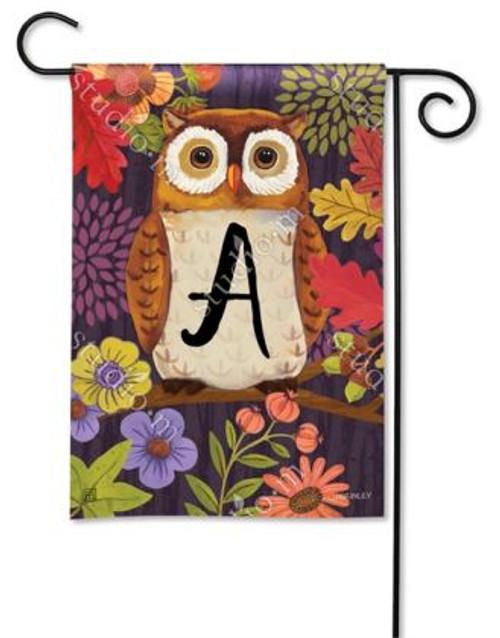 Floral Owl Monogram Garden Flag Letter A - 12.5 x 18 - BreezeArt