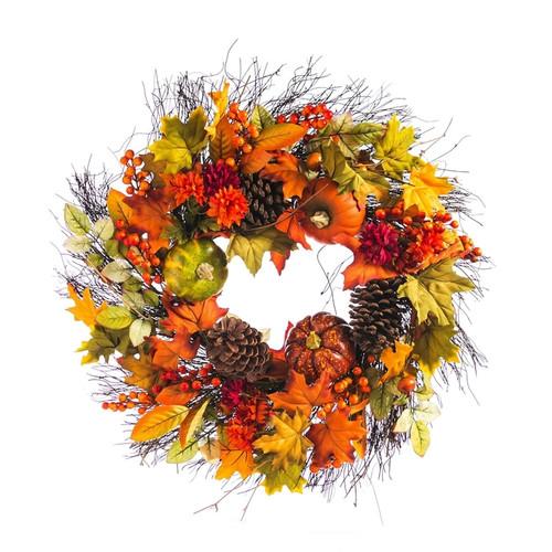 """Pumpkins & Pinecones Outdoor Wreath - 24"""" x 24"""" x 4.5"""""""