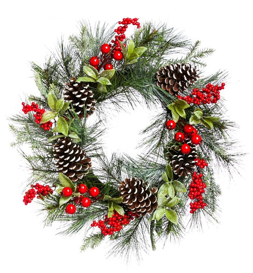 """Holly and Pinecone Wreath - 24"""" x 24"""" x 5"""""""