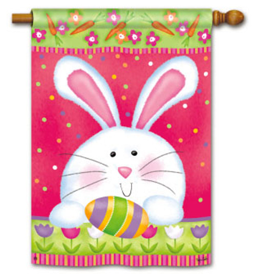 Bunny With Egg And Polka Dots House Flag by Breeze Art