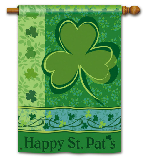 Happy St. Pat's House Flag - 2 Sided Message