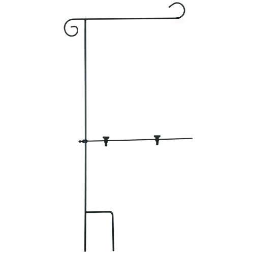 Garden Flag Stand with Stabilizer Arm Keeps Garden Flags Untangled