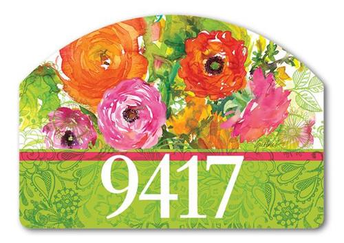 "Summer Blossoms Yard Design Address Sign - 14"" x 10"""