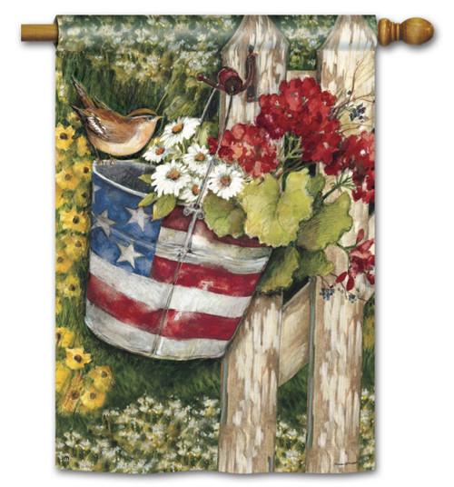 """Patriotic Pail House Flag - 28"""" x 40"""""""