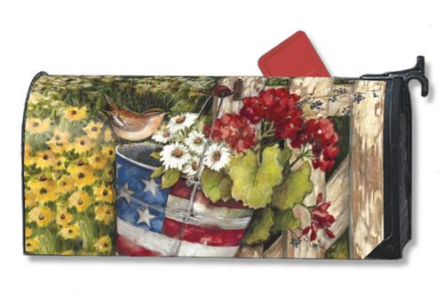 Patriotic Pail Mailwraps Magnetic Mailbox Cover