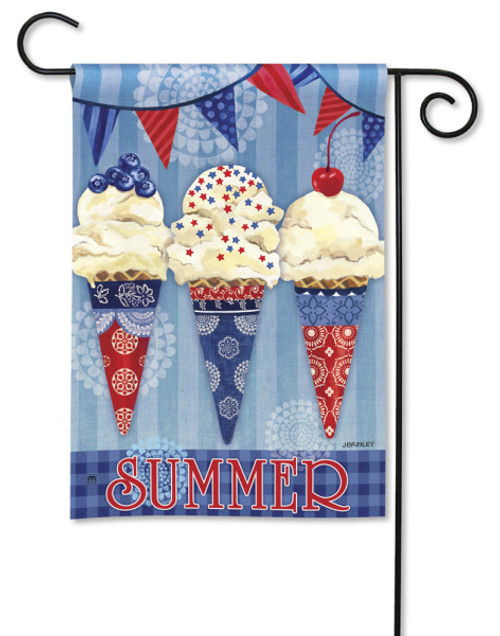 Red, White, and Blue Themed Ice Cream Cones Garden Flag