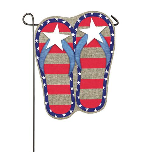 """Burlap Flip Flops Patriotic Garden Flag - 12.5"""" x 18"""""""