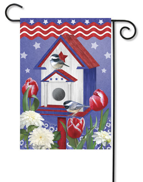 "Patriotic Birdhouse Decorative Garden Flag - 12"" x 18"""