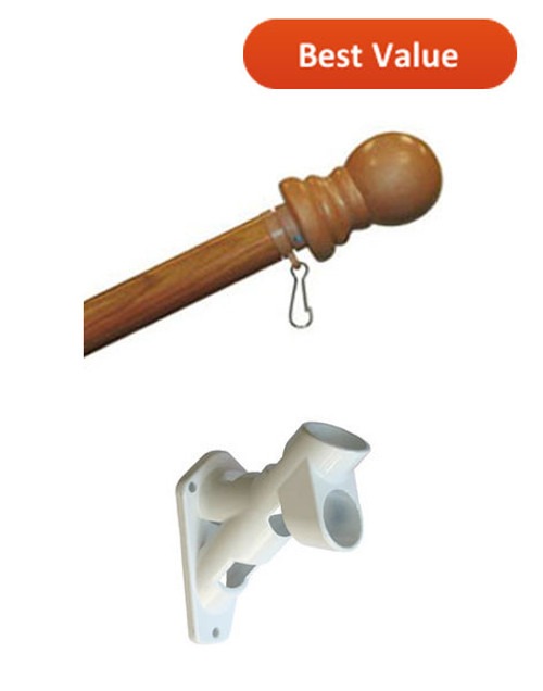 5' Wood Grain Rotating Flagpole Kit with Nylon Bracket - Complete Set
