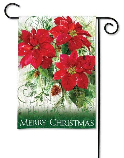 "Christmas Poinsettias Garden Flag - 12.5"" x 18"""