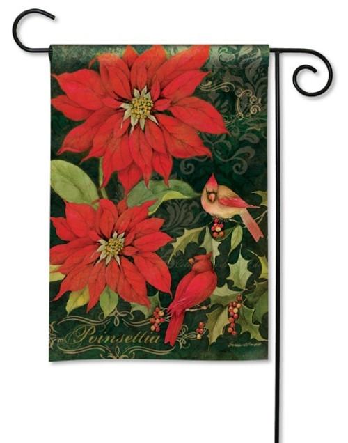 Poinsettia cardinals garden flag