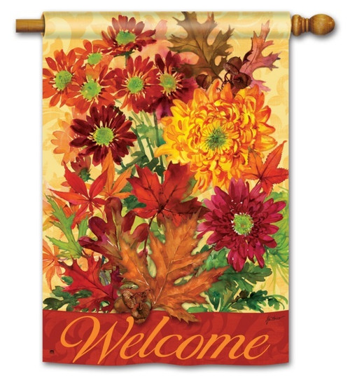 "Autumn Bouquet House Flag - 28"" x 40"" - 2 Sided Message"