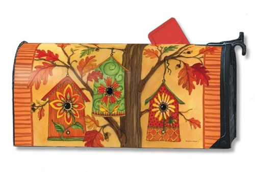 Fall Birdhouses Magnetic Mailbox Cover