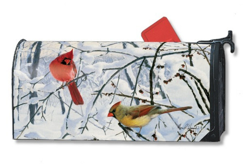 Winter Morning Cardinals Magnetic Mailbox Cover