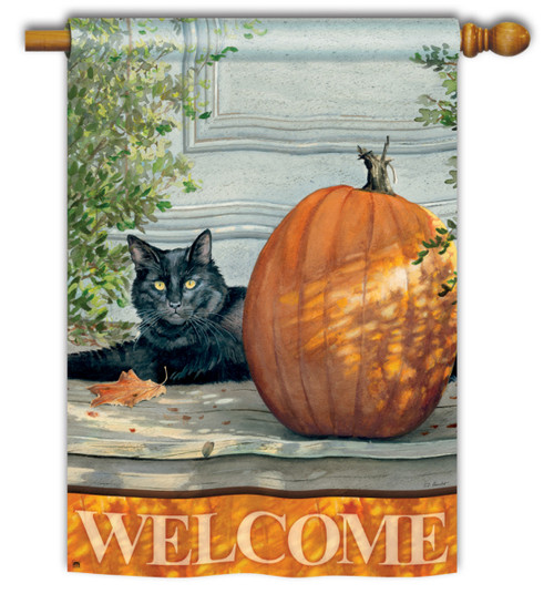 "Black Cat House Flag - 28"" x 40"" - 2 Sided Message"