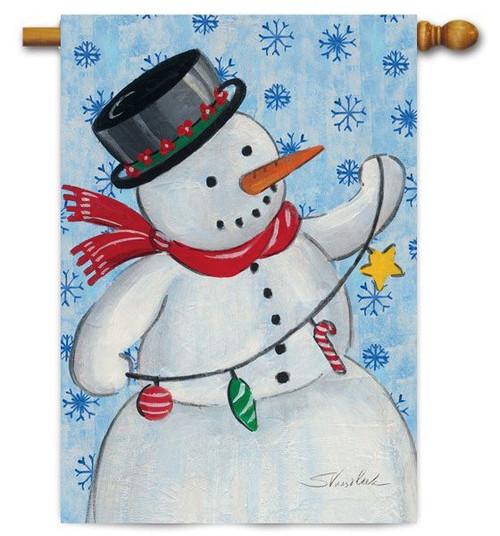 """Stringin' Snowman Toland House Flag - 28"""" x 40"""""""
