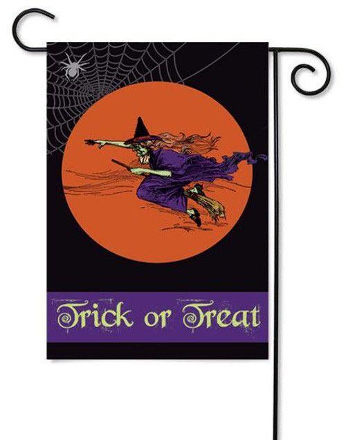 "Flying Witch Halloween Garden Flag - 12.5"" x 18"" - 2 Sided Message"