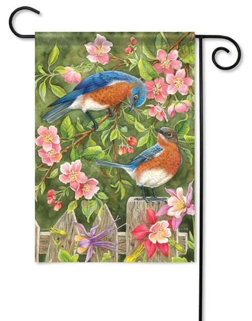 """Bluebirds & Fence Garden Flag - 13"""" x 18"""""""