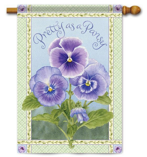 "Pretty Pansy House Flag - 28"" x 40"" - 2 Sided Message"