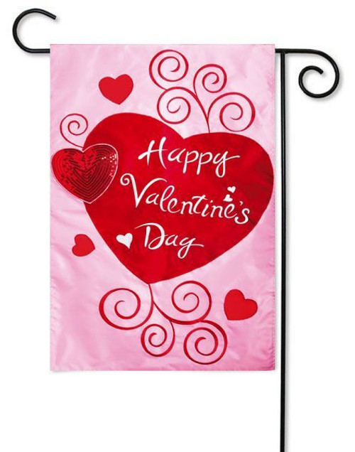 "Scroll Hearts Applique Valentine Garden Flag - 12.5"" x 18"" - 2 Sided Message"